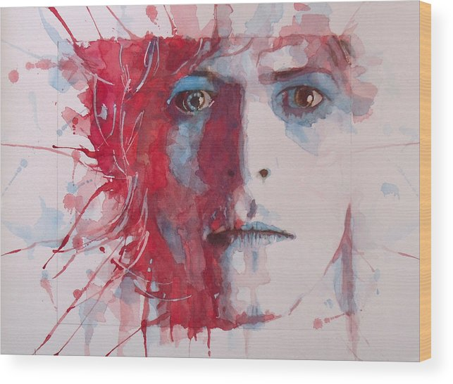 David Bowie Wood Print featuring the painting The Prettiest Star by Paul Lovering