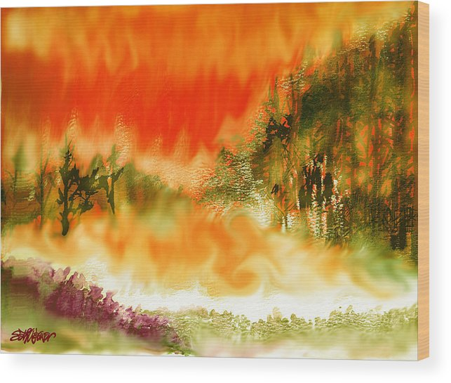 Timber Blaze Wood Print featuring the mixed media Timber Blaze by Seth Weaver