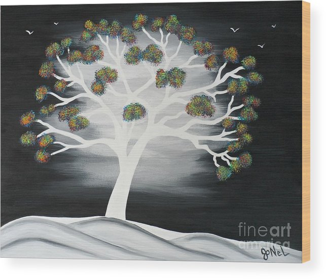 Tree Wood Print featuring the painting Tree of Light by JoNeL Art