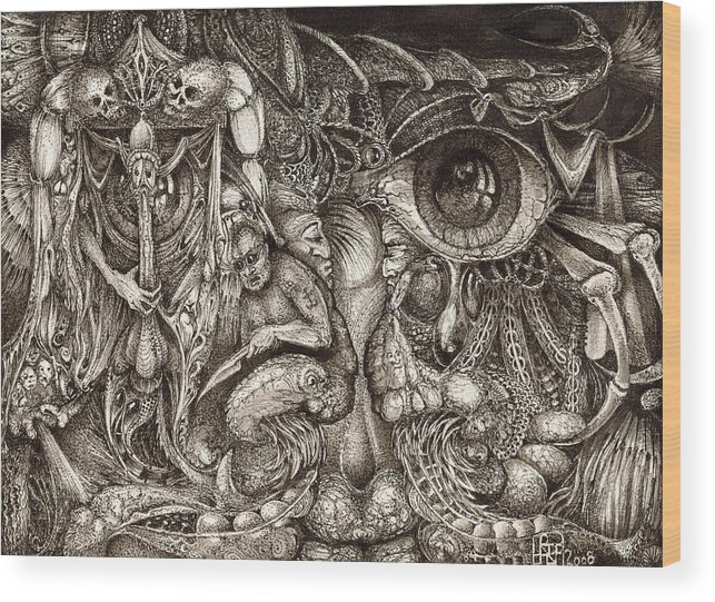Surreal Wood Print featuring the drawing Tripping Through Bogomils Mind by Otto Rapp