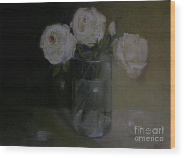 Pink Roses Wood Print featuring the painting Valentine Blush Roses          copyrighted by Kathleen Hoekstra