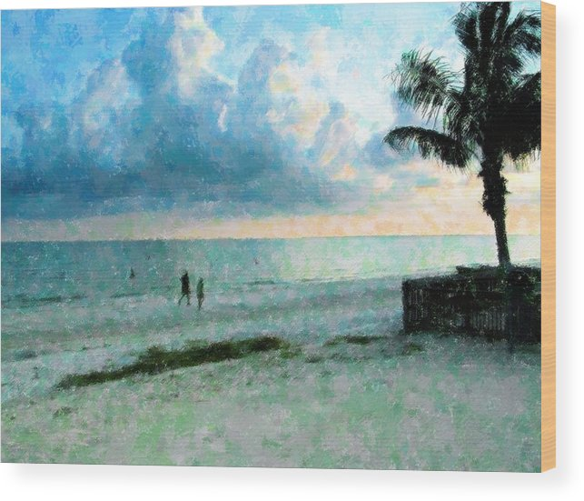 Sunset Wood Print featuring the mixed media Walk Under Blue by Florene Welebny