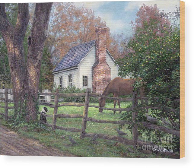 Folk Art Wood Print featuring the painting Where Time Moves Slower by Chuck Pinson