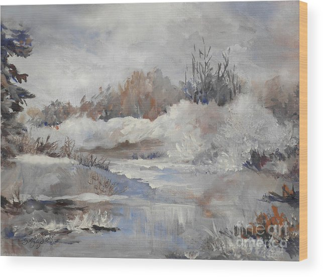 Winter Scene Wood Print featuring the painting Winter Impressions by Suzanne Schaefer
