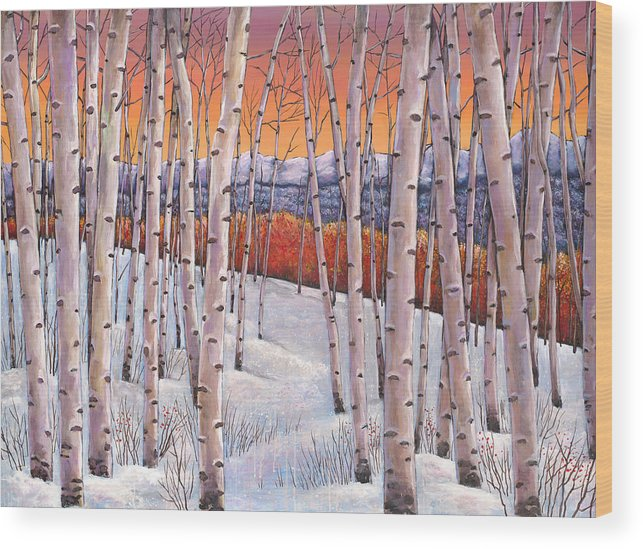 Autumn Aspen Wood Print featuring the painting Winter's Dream by Johnathan Harris