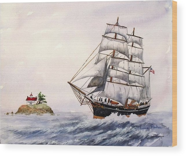 Ship W/ Lighthouse Wood Print featuring the painting Sailing Ship by Lynne Parker