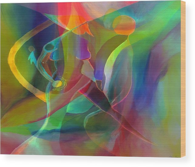 Abstract Wood Print featuring the digital art 2 of Us Falling by Peter Shor