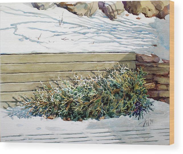 Peter Sit Watercolour Wood Print featuring the painting After Christmas by Peter Sit