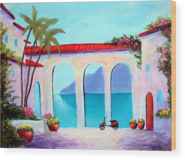 Arches Of Lake Como Wood Print featuring the painting Arches Of Lake Como by Larry Cirigliano