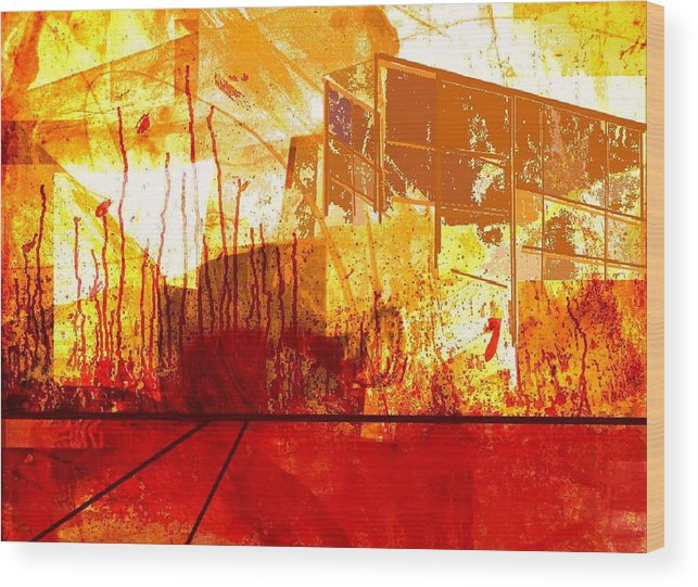 Abstract Wood Print featuring the digital art City in red and yellow by Joseph Ferguson