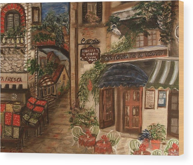 Landscape Wood Print featuring the painting European Village by Kenneth LePoidevin