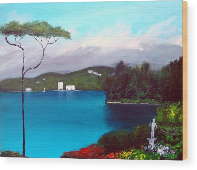 Lake Como Paintings Wood Print featuring the painting Gardens Of Lake Como by Larry Cirigliano