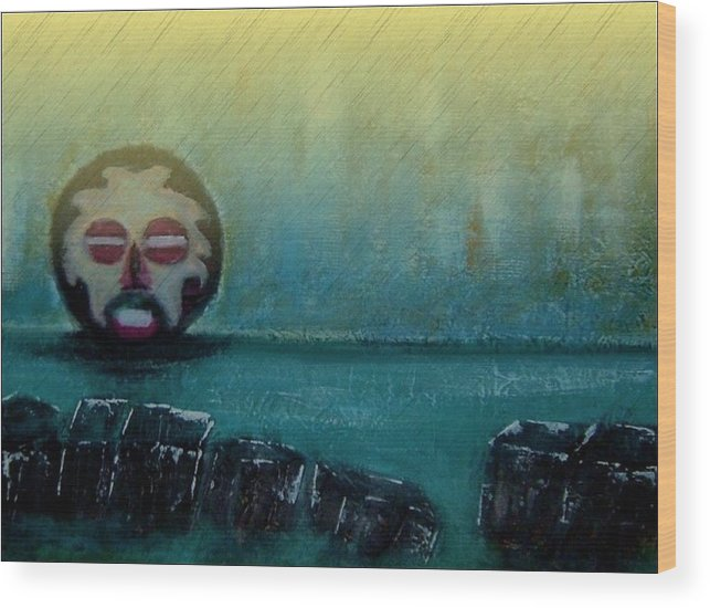 African Mask Wood Print featuring the mixed media River God9 by Joseph Ferguson