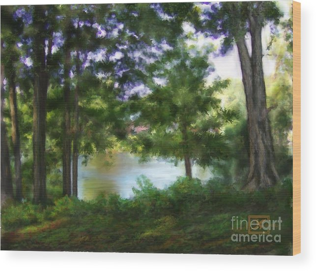 Riverside Wood Print featuring the painting Riverside View Landscape by Judy Filarecki