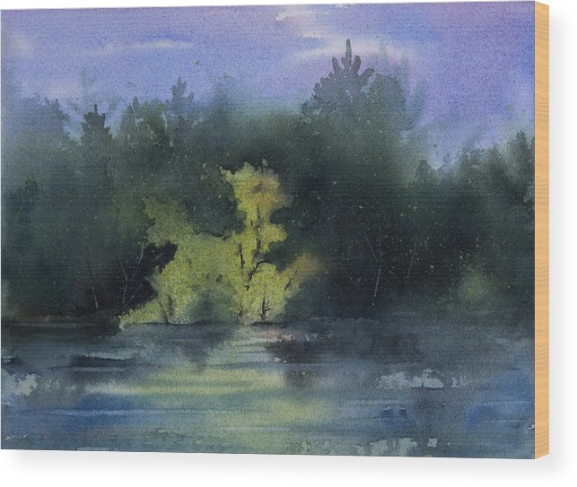 Island Wood Print featuring the painting Sunlit Island by Debbie Homewood