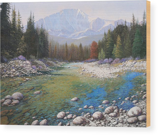 Landscape Wood Print featuring the painting 080401-4030 Shallow Waters - Pikes Peak by Kenneth Shanika