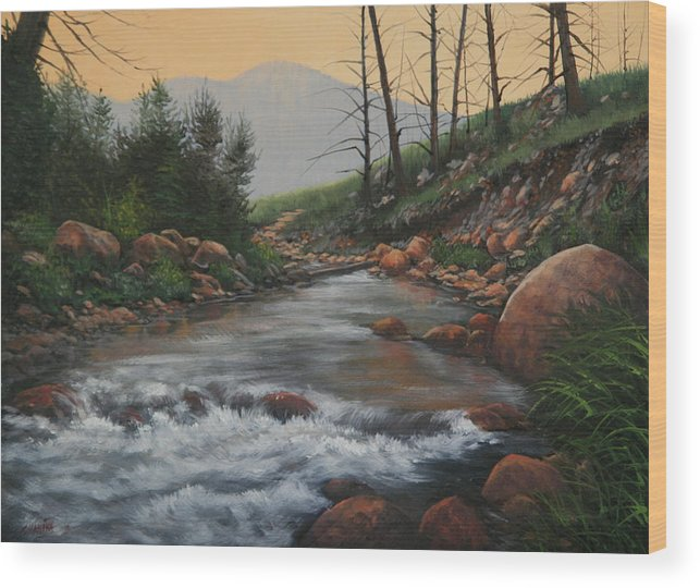 Original Oil Painting Wood Print featuring the painting 090430-1216  Trout Creek - Spring by Kenneth Shanika