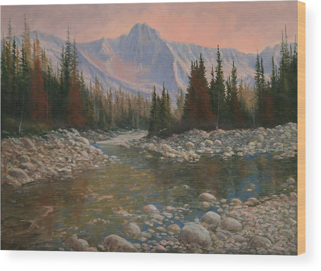 Original Oil Painting Wood Print featuring the painting 090504-1216  Rocky Creek by Kenneth Shanika