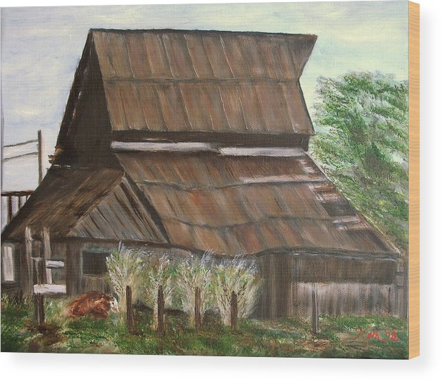 Landscape Old Barn Cow Wood Print featuring the painting Barn and Cow by Kenneth LePoidevin