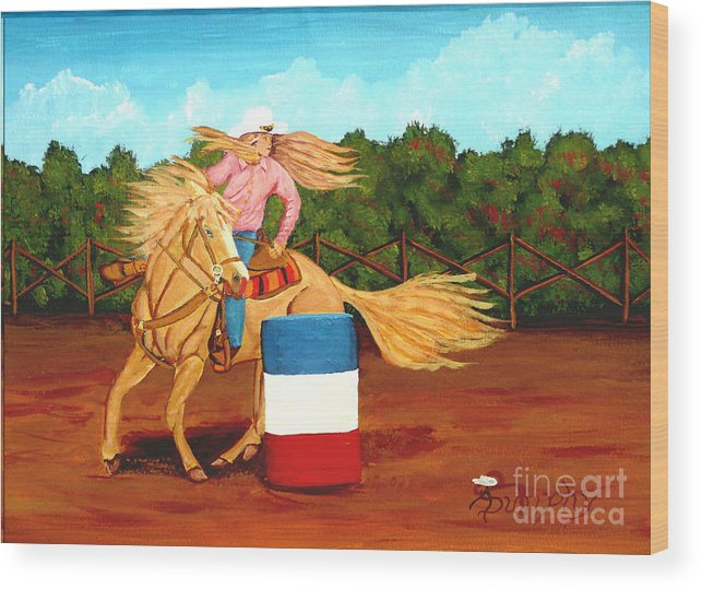 Rodeo Wood Print featuring the painting Barrel Racer by Anthony Dunphy