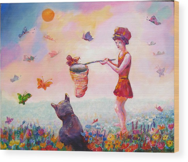 Child Wood Print featuring the painting Butterfly Power by Naomi Gerrard