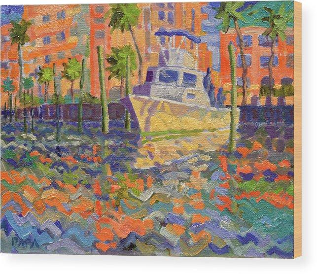 Boynton Wood Print featuring the painting Harbor Marina by Ralph Papa