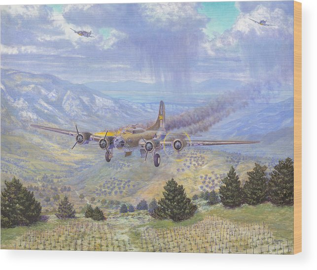99th Bomb Group Wood Print featuring the painting Her Majestys Last Landing by Scott Robertson