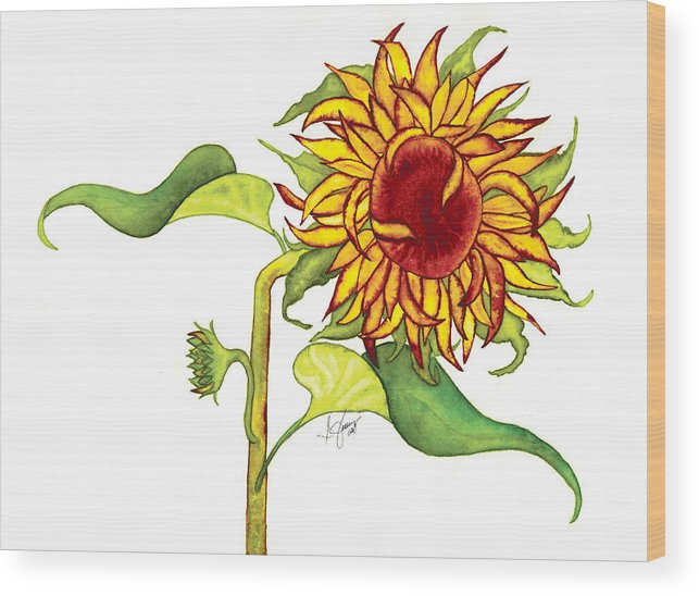 Floral Wood Print featuring the painting Mari's Sunflower by Stephanie Jolley