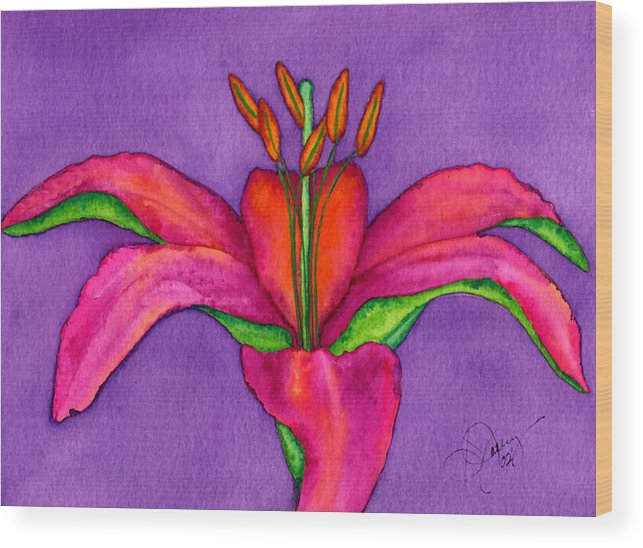 Red Lily Wood Print featuring the painting Neon Lily by Stephanie Jolley