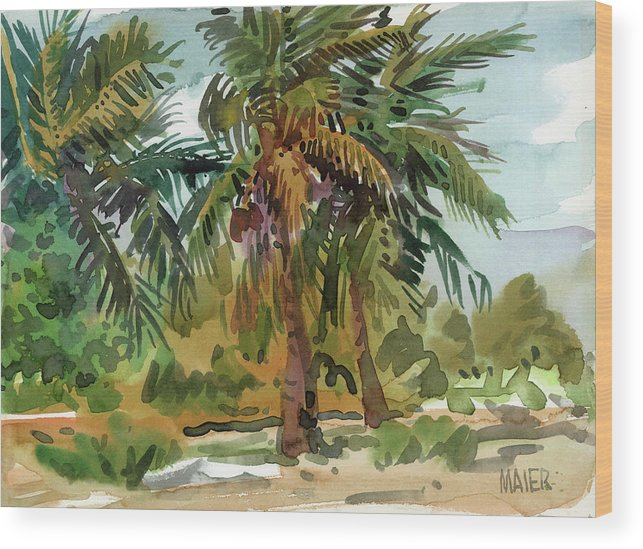 Key West Wood Print featuring the painting Palms in Key West by Donald Maier