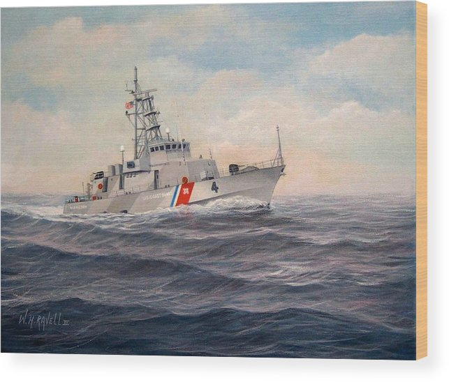 Coast Guard Wood Print featuring the painting U. S. Coast Guard Cutter Monsoon by William Ravell