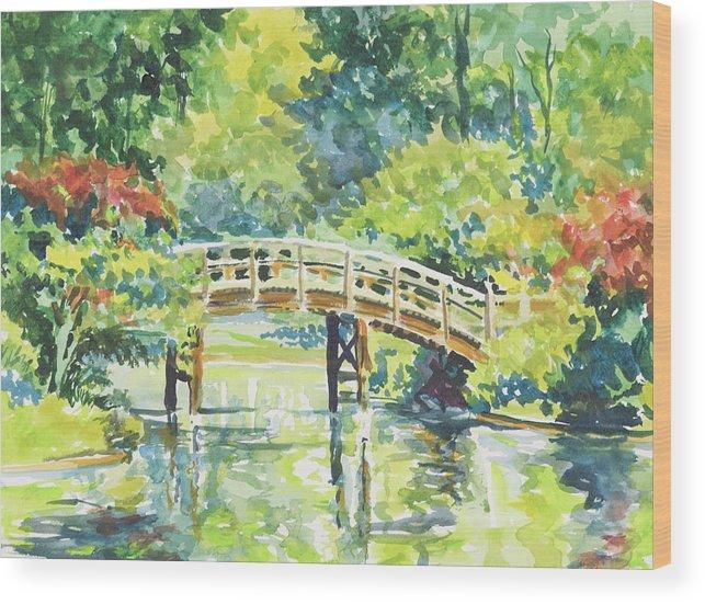 Missouri Botanical Garden Wood Print featuring the painting 159 Mobot Japanese Bridge by Marilynne Bradley