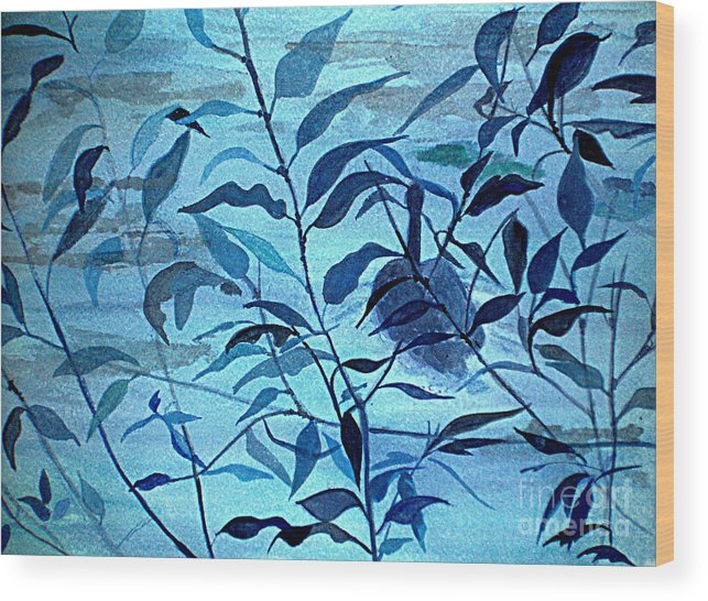 Blue Wood Print featuring the painting Blue on Blue by Vi Mosley