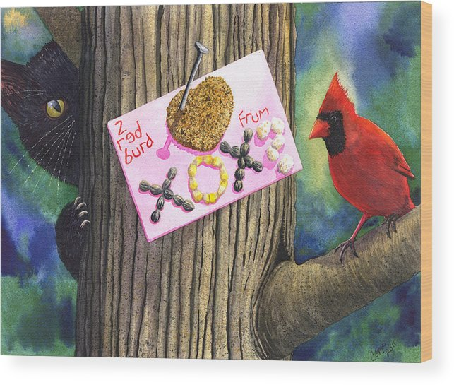Cardinal Wood Print featuring the painting 2 Red Burd by Catherine G McElroy