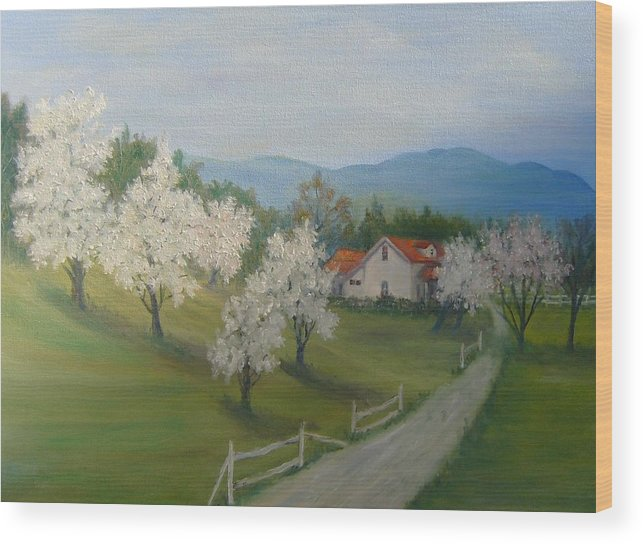Landscape; Spring; Mountains; Country Road; House Wood Print featuring the painting A Day in the Country by Ben Kiger