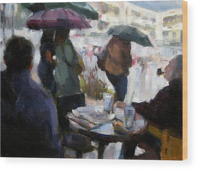Urban Wood Print featuring the painting A Rainy Day at Starbucks by Merle Keller