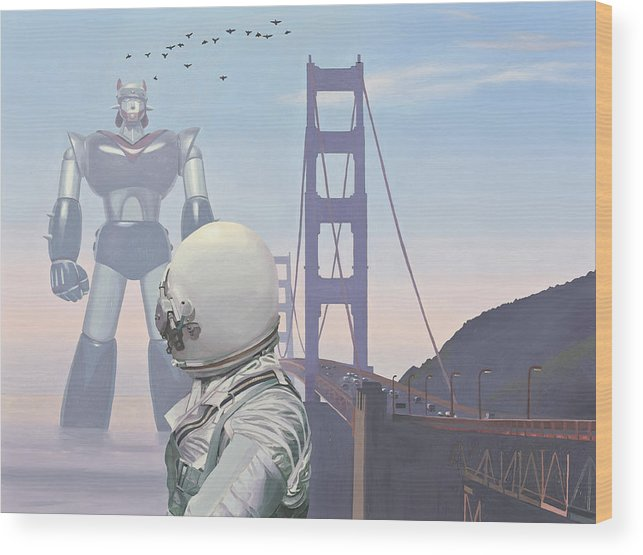 Astronaut Wood Print featuring the painting A Very Large Robot by Scott Listfield