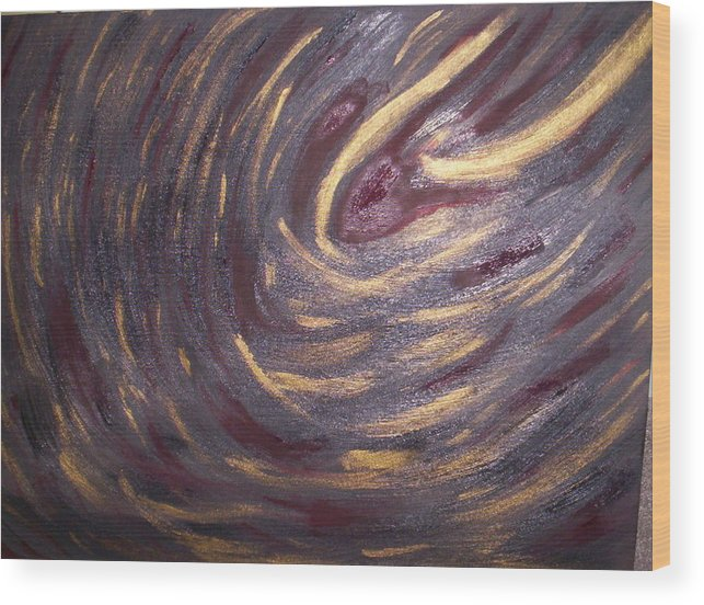 Black Wood Print featuring the painting Abstract 100 by Becca Haney