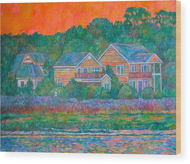 Landscape Wood Print featuring the painting Across the Marsh at Pawleys Island    by Kendall Kessler