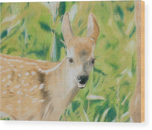 Fawn Wood Print featuring the painting Alert Fawn by Miriam A Kilmer