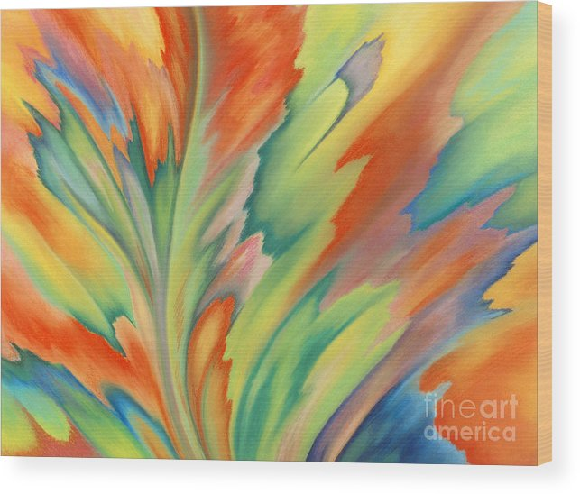 Abstract Wood Print featuring the painting Autumn Flame by Lucy Arnold