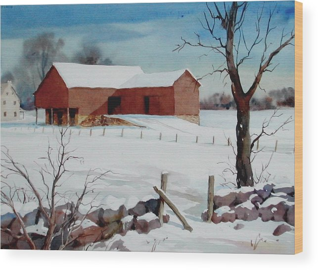Landscape Wood Print featuring the painting Bankbarn in the Snow by Faye Ziegler