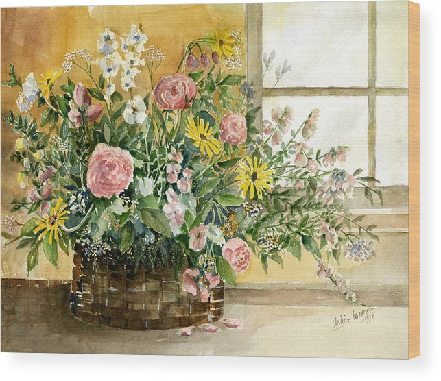 Basket Wood Print featuring the painting Basket Bouquet by Arline Wagner