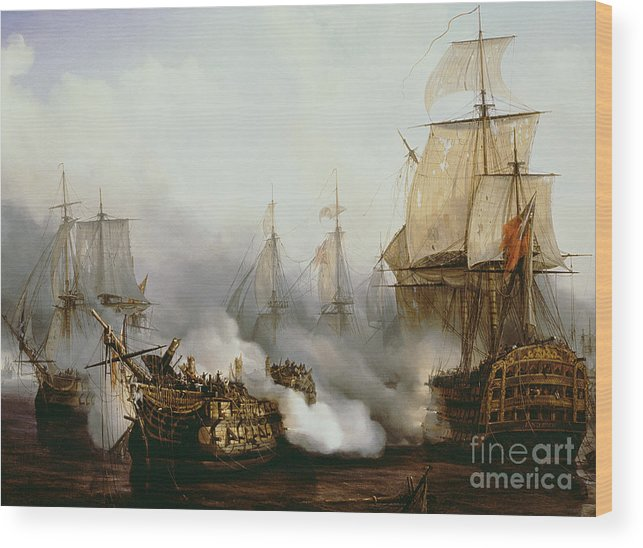 Battle Of Trafalgar By Louis Philippe Crepin Wood Print featuring the painting Battle of Trafalgar by Louis Philippe Crepin