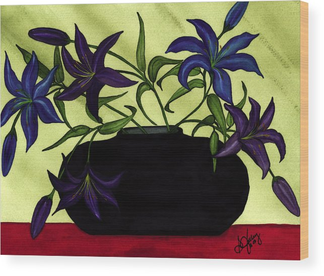 Black Vase Wood Print featuring the painting Black Vase with Lilies by Stephanie Jolley