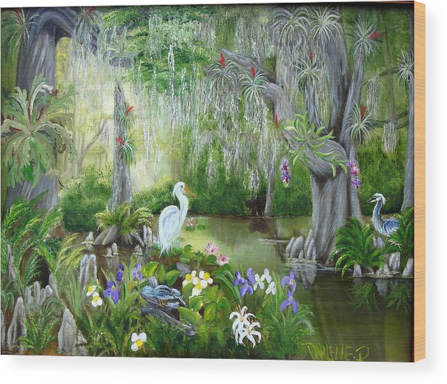 Florida Wood Print featuring the painting Blooming Swamp by Darlene Green