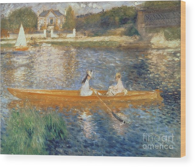 Boating On The Seine Wood Print featuring the painting Boating On The Seine by Pierre Auguste Renoir