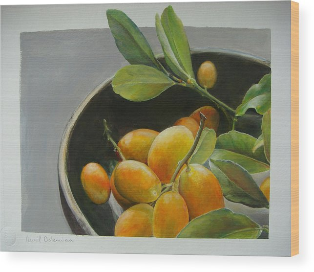 Floral Painting Wood Print featuring the painting Bol de Kumquats by Muriel Dolemieux