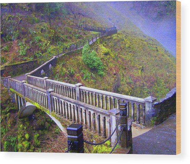 Bridge Wood Print featuring the photograph Bridge at Multnomah Falls by Lisa Rose Musselwhite