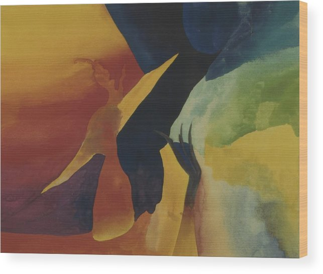 Abstract Wood Print featuring the painting Bridging Worlds by Peter Shor